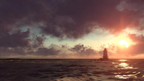 Lighthouse in the sea Animation