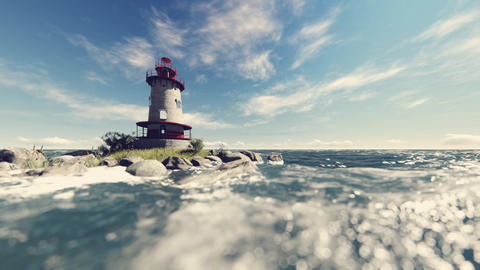 Lonely lighthouse in the sea Animation