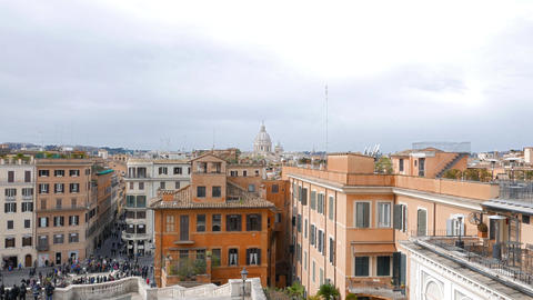 Dome of Rome, view from the Spanish Steps. Rome, Italy Live Action