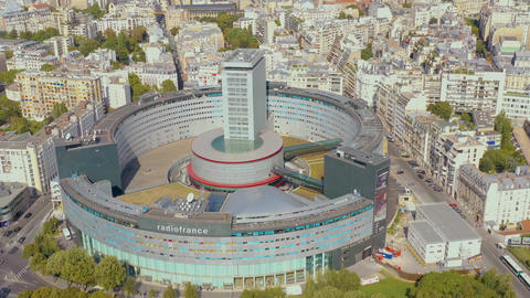 PARIS, FRANCE - MAY, 2019: Aerial drone view of the modern architecture district Live Action