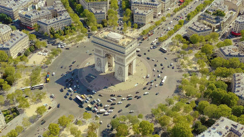 PARIS, FRANCE - MAY, 2019: Aerial drone view of Triumphal Arch in historical Live Action