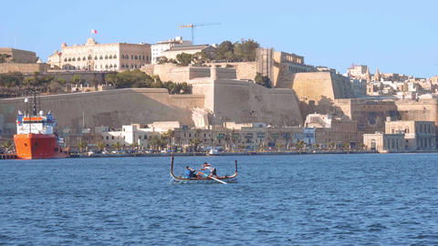 Boat trip along the port of Valletta in Malta Live Action