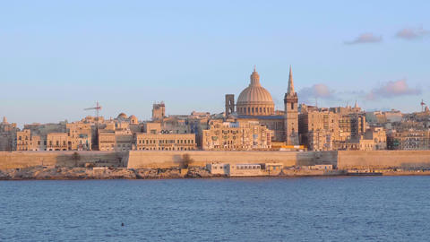 Typical and famous skyline of Valletta - the capital city of Malta Live Action