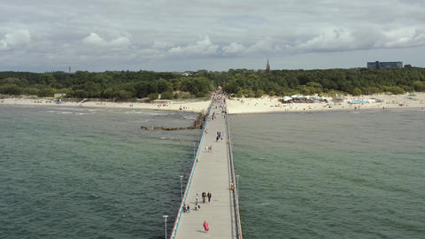 PALANGA, LITHUANIA - JULY, 2019: Aerial drone view of the famous pier in Palanga Live Action