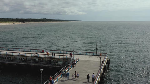 PALANGA, LITHUANIA - JULY, 2019: Aerial panorama view of the famous pier of the Live Action