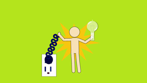 Electrical safety: Figure Shocked by Electrical Outlet (Green Screen + Matte) Animation