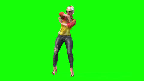 545 4k 3d animated avatars young blond woman dancing Animation
