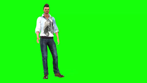 536 4k 3d animated avatar of man in twp parts who stands and sits talking Animation