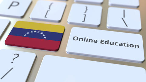 Online Education text and flag of Venezuela on the buttons on the computer Live Action