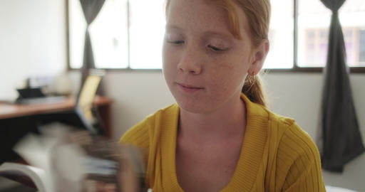 06 Little Redhead Girl Studying At Home Live Action
