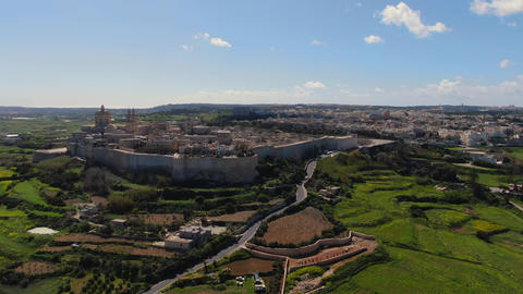 Aerial view over the historic city of Mdina in Malta Live Action