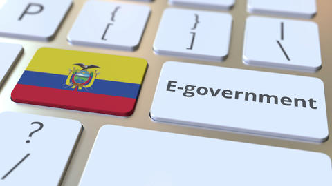 E-government or Electronic Government text and flag of Ecuador on the keyboard Live Action