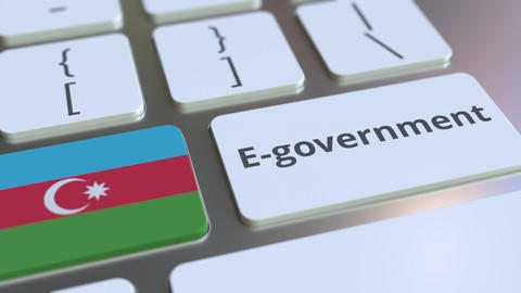 E-government or Electronic Government text and flag of Azerbaijan on the Live Action