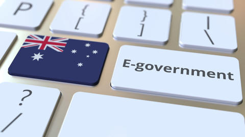 E-government or Electronic Government text and flag of Australia on the keyboard Live Action