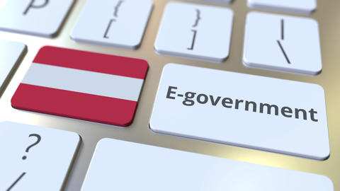 E-government or Electronic Government text and flag of Austria on the keyboard Live Action