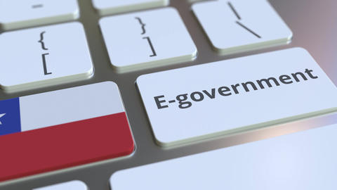 E-government or Electronic Government text and flag of Chile on the keyboard Live Action