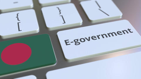 E-government or Electronic Government text and flag of Bangladesh on the Live Action