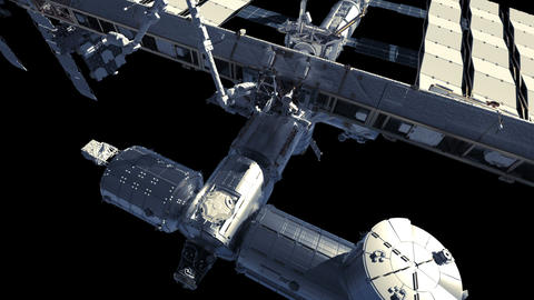 Flight Of International Space Station. Alpha Channel GIF