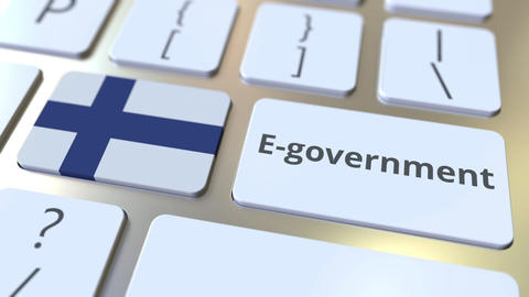 E-government or Electronic Government text and flag of Finland on the keyboard Live Action