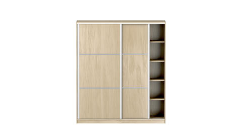 Empty wood wardrobe with sliding doors Animation