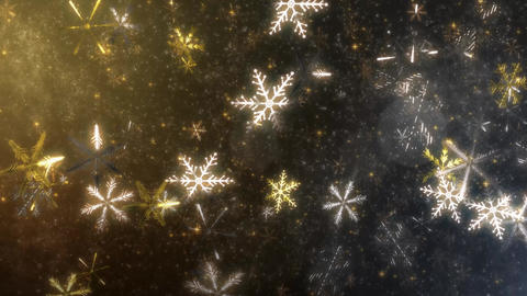 4K CGBG SeamlessLoop Snowflakes Silver Gold Animation