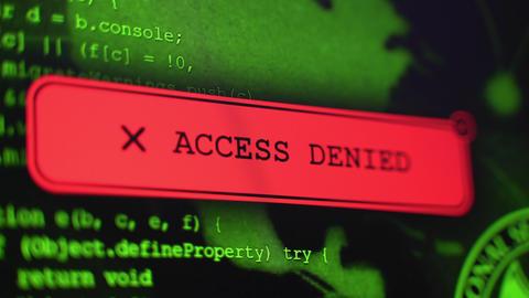 Access Denied Warning Alert alert of a hacker's computer screen Live Action