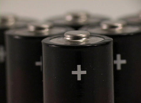 An extreme of contact points on small batteries Stock Video Footage