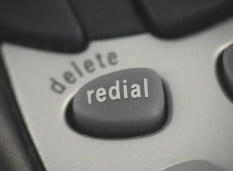 A of the redial button on a phone Stock Video Footage