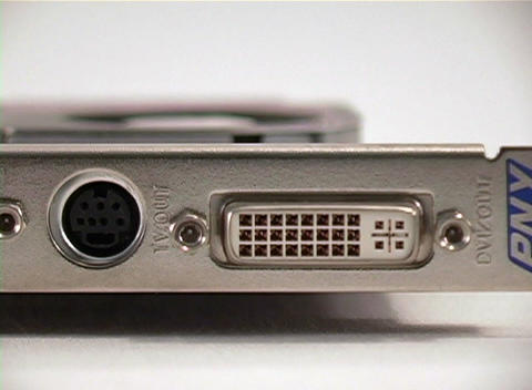 A of the S Video and DVI connections on graphics card for a desktop computer Footage