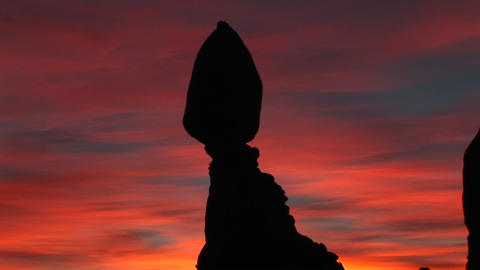 Balanced Rock stands against a brilliant sky Stock Video Footage