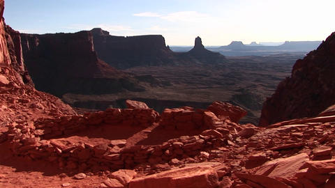 Crab-right across an ancient American Indian campground in Canyonlands National Park Footage