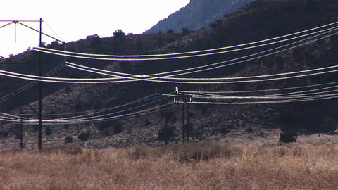 High tension wires reflect the sun as they stretch across a desert landscape Footage