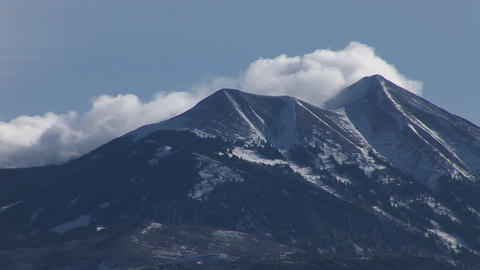Long-shot of the snowcapped La Sal mountains near Moab, Utah Stock Video Footage