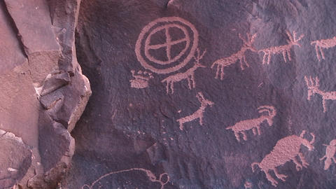 Medium shot of ancient American Indian petroglyphs at... Stock Video Footage