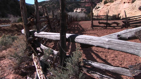 Pan-up of an old corral Footage