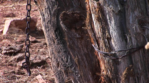 Close-up of a chain hanging from the wood beams of an old... Stock Video Footage