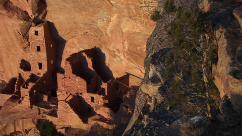 Birds-eye view of an ancient Anasazi ruin at Mesa Verde... Stock Video Footage
