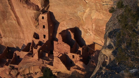 Birds-eye view of an ancient Anasazi ruin at Mesa Verde National Park in Colorado Footage