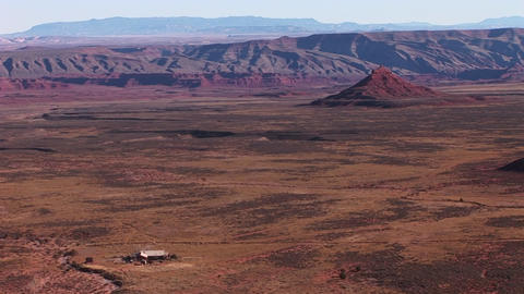 Birds-eye view of a remote ranch on a desolate Southwest... Stock Video Footage