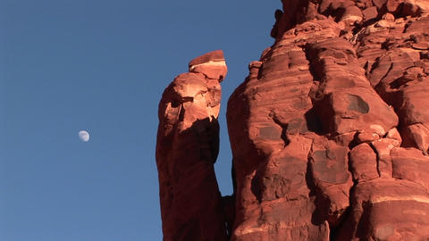 Close-up of red rock formations in a southwest desert Stock Video Footage