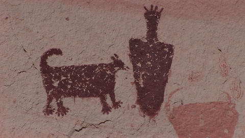 Close-up of an American Indian petroglyphs Footage