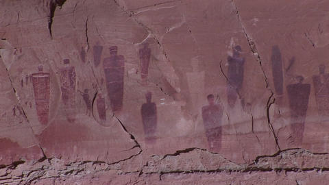 A slow zoom into ancient and mysterious giant petroglyphs in Canyonlands National Park, Utah Footage
