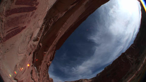 Worm's-eye view of American Indian petroglyphs on a canyon wall Footage