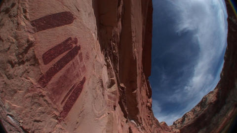Worm's-eye view of American Indian petroglyphs on a... Stock Video Footage