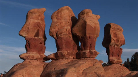 Medium shot of unusual rock formations in Canyonlands... Stock Video Footage