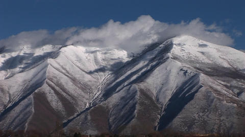 Snow covers the Wasatch mountain range near Salt Lake... Stock Video Footage