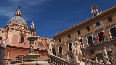 Many statues are on display outside a Roman Catholic Cathedral in Palermo, Italy Live Action