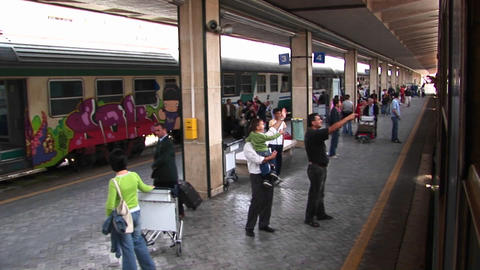 A POV of people waving farewell to passengers on a train... Stock Video Footage