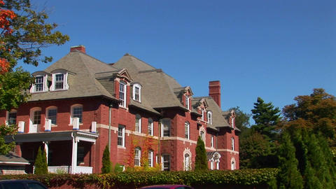 A red brick mansion in Bar Harbor, Maine Stock Video Footage