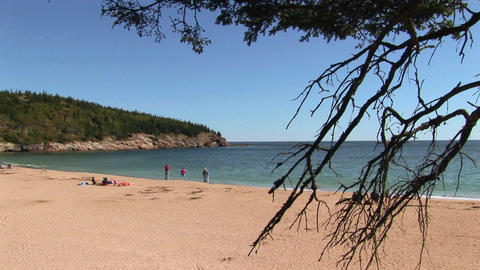 People relax on a beach in Acadia National Park in Maine Stock Video Footage